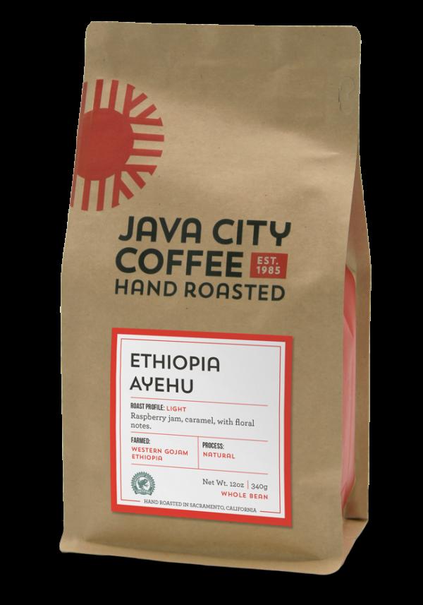 Photo of 12 ounce bag of Ethiopia-Ayehu_Rainforest Alliance Certified Coffee